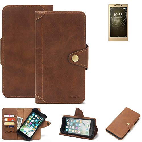 K-S-Trade Handy Hülle für Sony Xperia L2 Dual-SIM Schutzhülle Walletcase Bookstyle Tasche Handyhülle Schutz Case Handytasche Wallet Flipcase Cover PU Braun (1x)