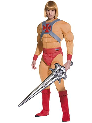 Herren He-Man mit aufblasbar Schwert He Man Prinz Adam 1980s Jahre Cartoon-TV Junggesellenabschied Kostüm Kleid Outfit - Beige, Medium (80s Fancy Dress Kostüme Uk)