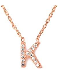 e146fbf55c7 Mini Initial Letter A- Z Necklace - 18kt ROSE GOLD Vermeil - 925 Hallmarked  -