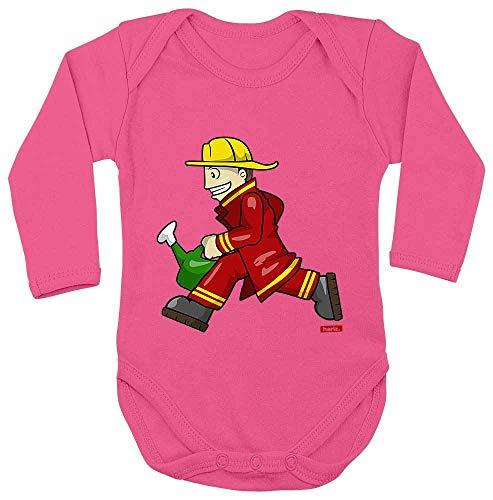 Rennen Kostüm Babys Auto - HARIZ Baby Body Langarm Feuerwehrmann Kanne Rennen Beruf Feuerwehr Inkl. Geschenk Karte Einhorn Fuchsia 62-68