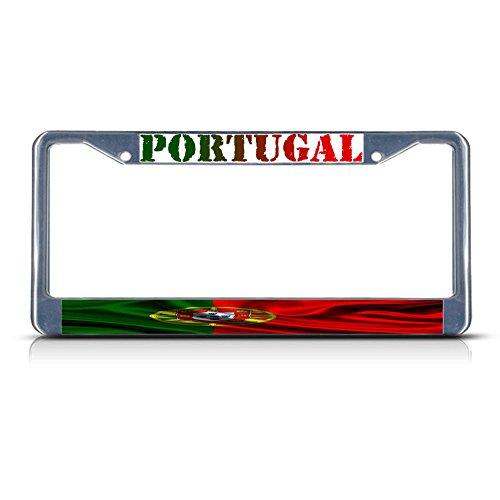 Portugal Flagge, gewellte Metall-Kennzeichenrahmen mit Zwei Löchern, ideal für Männer und Frauen, Auto-Garadge Dekor