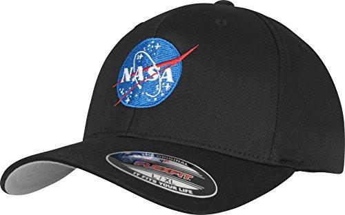 Mister té NASA Logo Flexfit–Gorra, Negro, Disponible en Dos tamaños, Unisex, NASA...