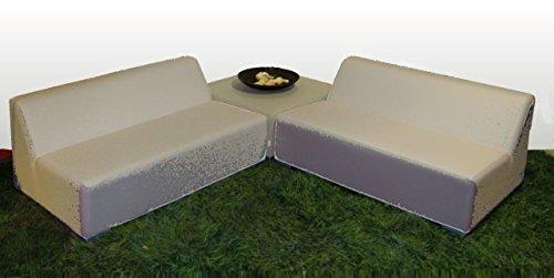 WOHNWERK! Lounge Möbel Serie MOOD! 3er Set - Absolut witterungsbeständig - (Beige, Material Stoff) Outdoor