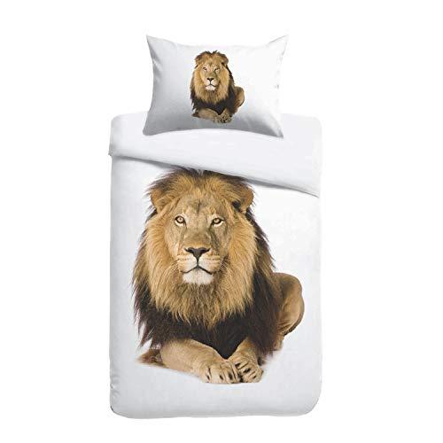 Kayori Sognamo George Baumwollbettwäsche 135x200+80x80cm Farbe Weiss I Löwe Lion I Reißverschluss I Reine Baumwolle I Organic I Fair Trade I Bio (Bio-bettwäsche)