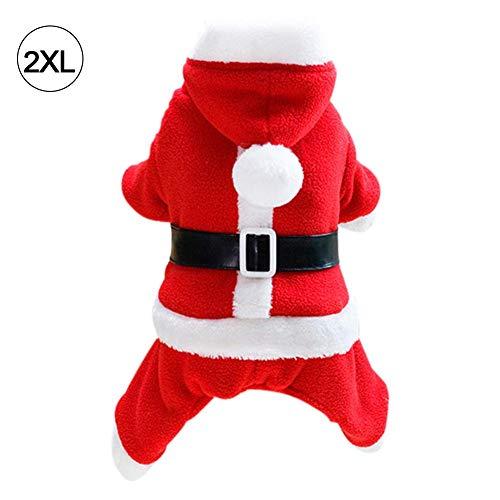 (feiledi Trade Weihnachtskostüm Haustier Katze Hund Anzug mit Kappe Santa Claus Kostüm Hoodie Samt Mantel Jumpsuit Kleiner Hund Kleidung S M L XL XXL)