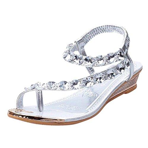 Damen Frauen Sandalen, squarex, leicht, Frauen-Sommer-Sandalen Strass Flach Keile Schuhe Flip Flops, für den täglichen Gebrauch EU 37 silber (Sandalen Crew Leder)