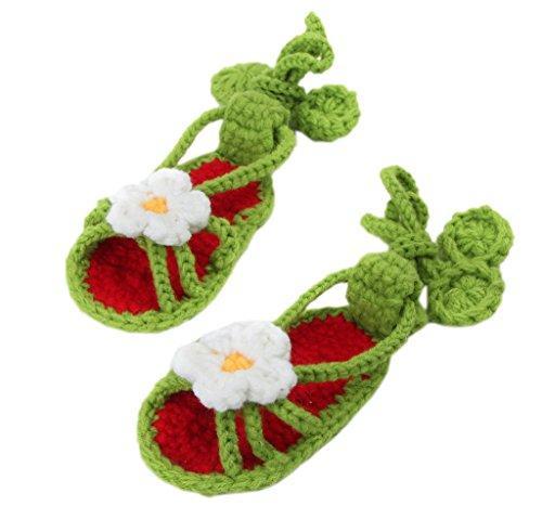 Bigood Sandales Bébé Fille Garçon Tricot Chaussure Naissance Fleur Eté