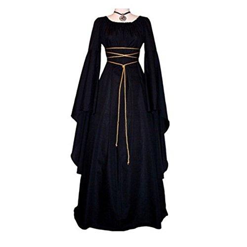 omens Medieval Dress 1970s Victorian Renaissance Gothic Gown Costumes S-XL Satin Gothic Viktorianisches Kleid Renaissance Kostüm (Renaissance Gothic Kostüme)