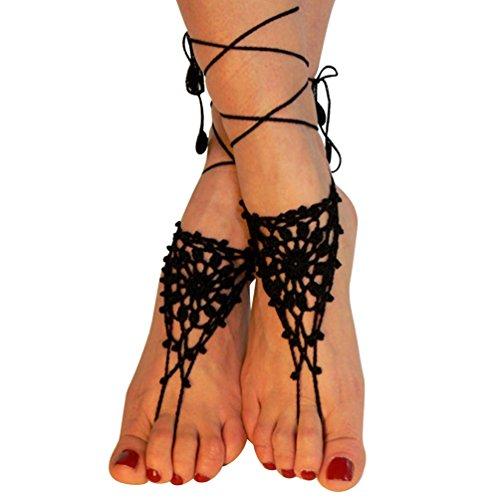 Steellwingsf Baumwolle Knit Crochet Barfuß Sandalen Beach Fußkettchen Kette Frauen Fuß Armband, baumwolle, Schwarz, Einheitsgröße