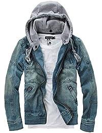 cfzsyyw Men's Denim Hoodie Jacket Casual Slim Button Down Jeans Coat