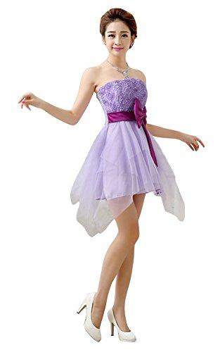 drasawee Trägerlos Kurz Abend Abschlussball Brautjungfer Kleid Junior  Heimkehr Kleider Violett