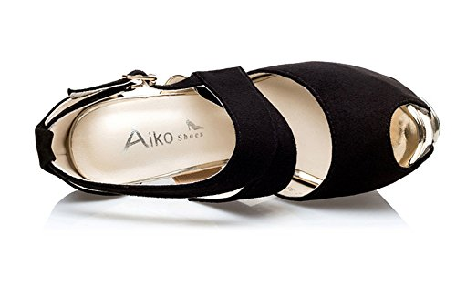 Wealsex stiletto high heels damen sandalen plateau Schwarz