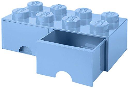 LEGO Brick Schublade 8Knöpfe, 2Schubladen, stapelbar Aufbewahrungsbox, 9,4l, hellblau, 212–Royal Blau (Schublade-storage-office)