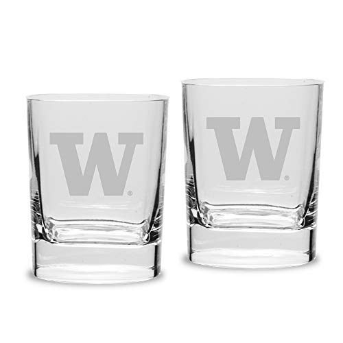 NCAA Washington Huskies Luigi Bormioli Square Round Double Old Fashion Glass - Set of 2, Clear, 11.75 oz