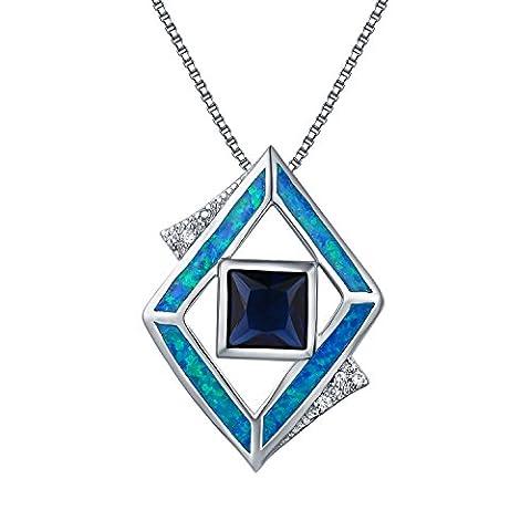 Oven Moda Bijoux Argent Sterling Multi Mère-de-Pearl Médaillon 46cm / 18 Chaîne Pouces Femmes Vibrant Blue Collier Avec Pendentif Opale