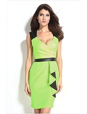 ZQA&N La mujer _ falda falda larga de alta gama vestido sin mangas, verde, L