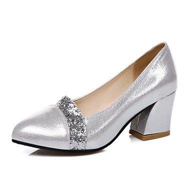 Talloni delle donne Primavera Estate Comfort similpelle vestito casuale tacco grosso con fibbia argento oro nero camminare US5 / EU35 / UK3 / CN34