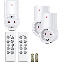 Etekcity Funksteckdosen Set aus 3 x Funksteckdose mit 2 x Fernbedienung, Funkschalt Set Selbstlern-Funktion, 2300 Watt für Weihnachtsschmuck, Licht, Haushaltsgeräte, Reichweite 30m, Weiß