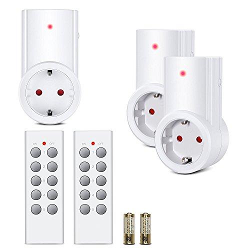 Etekcity Enchufes Inalámbricos Inteligentes con Control Remoto para Electrodomésticos, Blanco (Código de Aprendizaje, 3Rx-2Tx)