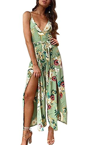 Angashion Women's Jumpsuits-Sexy Bohemian Floral Deep V Neck Spaghetti Strap Wide Leg Side Slit Rompers