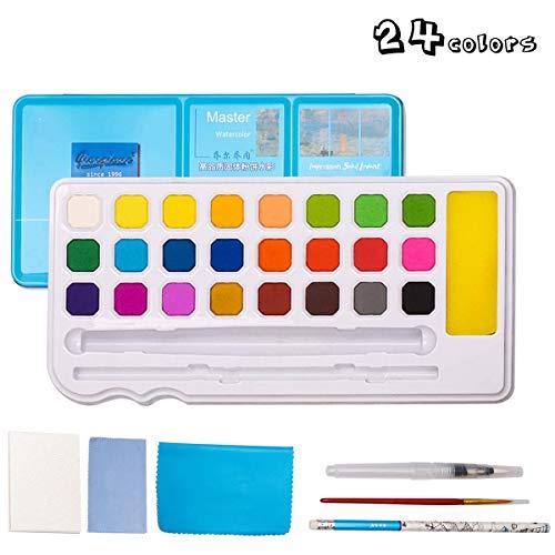 ZITFRI Peinture Aquarelle Palette Transportable-Boîte d'Aquarelle Professionnelle 24 Couleurs +8 Papiers +2 Stylo d'aquarelle de Voyage pour Débutant Amateur Artis