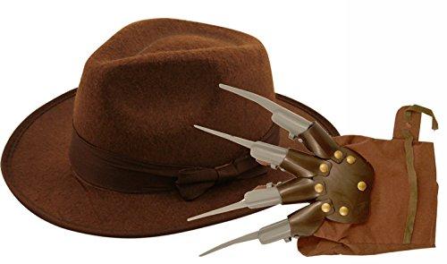 Freddie Krueger Hut und Handschuh für Erwachsene, für (Krüger Outfit Freddy)