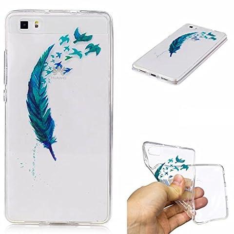 Huawei P8Lite Hülle Silikon transparenter Ultra dünner TPU weicher handy hülle DECHYI Kunstmalerei Serie handyHülle Huawei P8 Lite blaue (Led Ultra Bright Streifen)