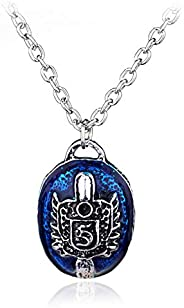 yihan jewelry 925 Sterling Silver Plated The Vampire Diaries Daywalking Damon D Salvatore Pendant Necklace,Blu