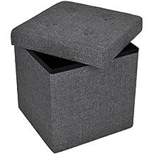 Mari Home Sketchley - Puf otomana plegable y reposapiés para almacenar juguetes, carga máxima 300 kg, 38 x 38 x 38 cm, color gris oscuro
