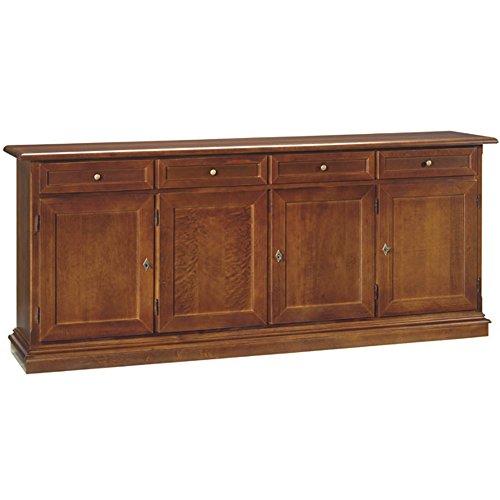 InHouse srls Credenza, arte povera, in legno massello e mdf con rifinitura in noce lucido - Mis. 205 x 42 x 85