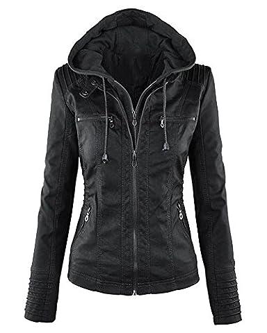 Femme Veste En Cuir Fermeture Éclair Blousons Manteau à Capuche Court Veste Noir 3XL