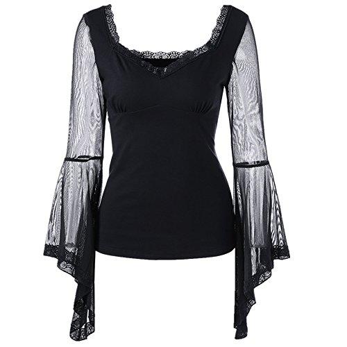 Dihope Femme Printemps Automne Top Col Rond Manches Longues Volants Tee-shirt Casual Tee-shirt Blouse Haut Blouse Noir