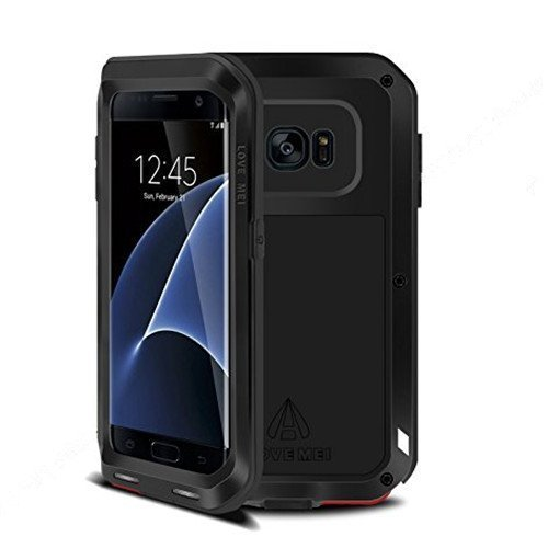 Love Mei Powerful Case Waterproof Shockproof Aluminum Metal Cover for Samsung Galaxy S7 Edge (Black)
