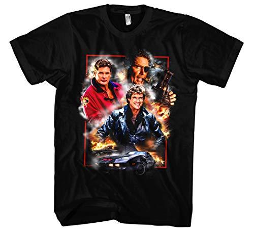 David Hasselhoff Männer und Herren T-Shirt   Vintage Baywatch Retro Kult (XL, Schwarz Druck:Bunt) - Kult Schwarz T-shirt