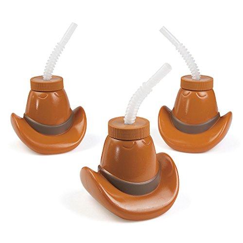 cama24com Cowboy Wilder Westen Trinkflasche als Cowboyhut 6 Stück Palandi®