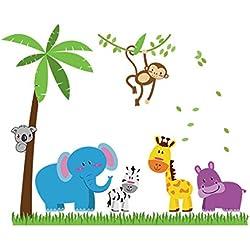 UniqueBella Vinilo Decorativo Infantil Adhesivo Pegatina de Pared para Dormitorio Habitación Sala Hogar Decoración de Niños Dibujos Animados Animales en la Pradera