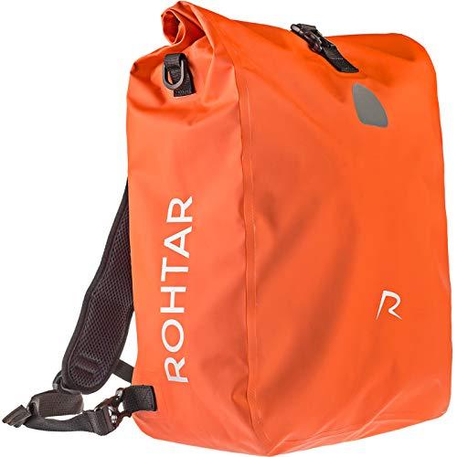 Rohtar 3in1 Fahrradtasche - wasserdicht & reflektierend - als Gepäckträgertasche, Umhängetasche & Rucksack einsetzbar - ideale Gepäcktasche fürs Fahrrad - 18L/25L (schwarz/gelb/rot) - (Rot, 18L)