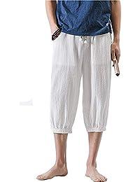 Pantalones Harem De Los Hombres Chinos del Estilo Tamaños Cómodos del Lino  De Los Pantalones del a2ff8962216