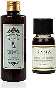 Kama Ayurveda Extra Virgin Organic Coconut Oil 200ml, Bringadi Intensive Hair Treatment 8ml Combo
