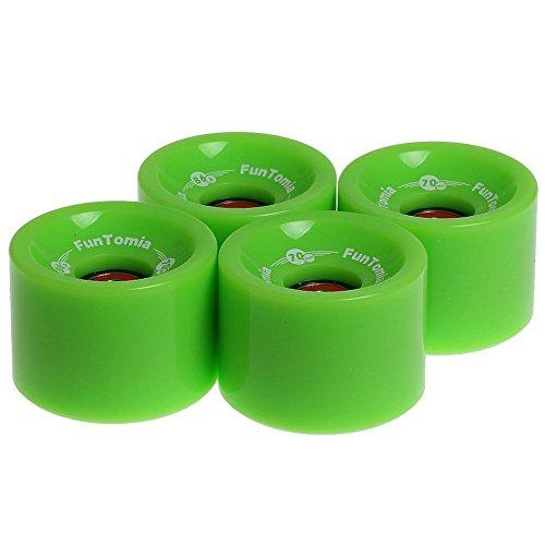 FunTomia 4 Stück Longboard/Skateboard Rollen (Big Wheels) in 70x51mm 80A oder 70x51mm 86A inkl. Mach1® Kugellager