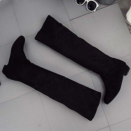 Stivali piatti, SOMESUN Caricamenti del sistema piane autunno di inverno delle donne Calzature lunghe corte di scamosciata del piedino delle gambe Black