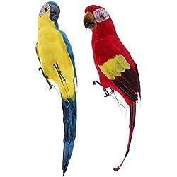 Homyl 2pcs Pájaro de Loro Artificial Casa de Muñecas Herramientas Manual Eléctrica