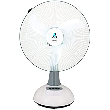 Akari Ak-8083 Plastic and Metal Rechargeable Ac/Dc Solar Charging Function, Oscillating Table Fan with Emergency LED Light, 16-inch , White