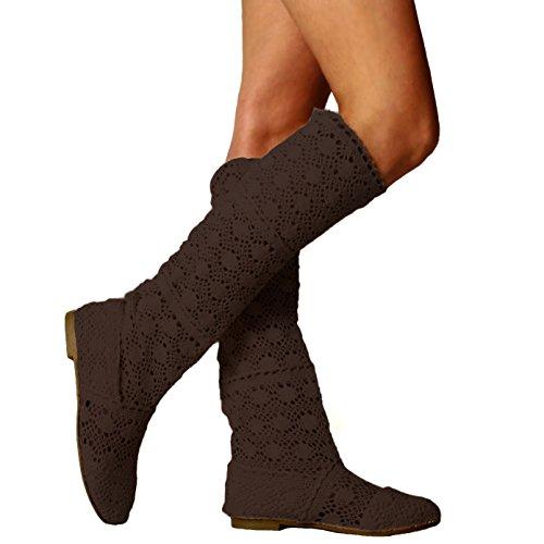 Orandesigne donna ricamo stivali estive affascinante traspirante stivali elegante sandali caffè eu 40