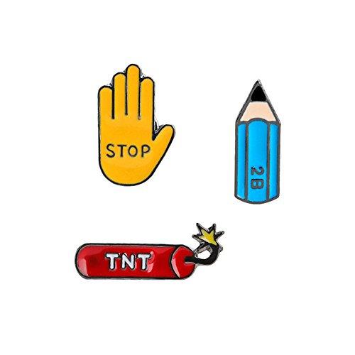 rainbabe Cute Cartoon Emaille Broschen Pins Badge für Frauen Anzug Bleistift Geste Dynamite Muster 3 (Bleistift Muster)