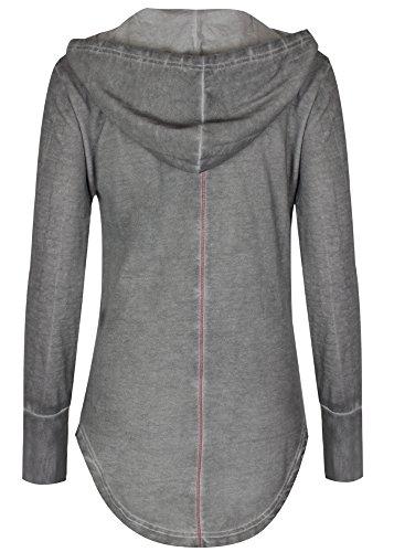 trueprodigy Casual Femme veste sweat uni basique, vetements cool marque a capuche (manche longue & slim fit classic), pull sweat zippe mode fashion Couleur: gris 2563115-5203 Dark Grey