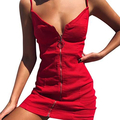 CANDLLY Kleid Damen, Sommer Mode Lässig Solider
