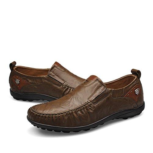 HENGJIA Herren Klassische Loafers Freizeitschuhe Schlupfhalbschuhe Bequeme Fahrerschuhe 23419 Braun
