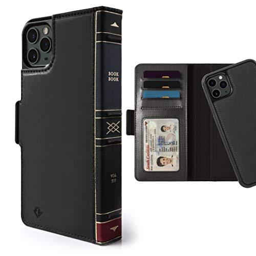 Twelve South BookBook per iPhone 11 Pro Max 3 in 1 Custodia a portafoglio in pelle con supporto display e guscio magnetico rimovibile (nero)