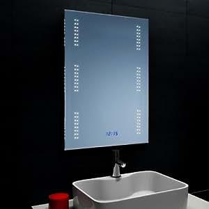 lux aqua badezimmerspiegel wandspiegel mit led beleuchtung und uhr fl0903 k che. Black Bedroom Furniture Sets. Home Design Ideas
